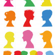 Colorful silhouettes, profiles — Stock Vector