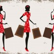 Silhouettes of a women shopping — Stock Vector