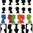 Set of adult and children silhouettes — Stock Vector