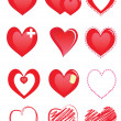 Set of red hearts — Vector de stock