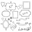 Set of doodle frames and elements for Valentine's Day — Imagen vectorial