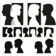 Set of couple silhouettes. — Stock Vector