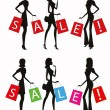 Silhouettes of women shopping with word SALE on their bags. — Stock Vector
