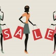 "Women shopping with word ""SALE"" on their bags — Vector de stock"