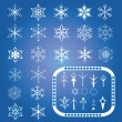 Set of snowflakes and the elements to create new snowflakes — Stock Vector