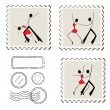 Stamps with dancing man and woman. — Stock Vector
