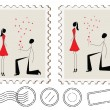 Illustration of man proposing to a woman  on postcard — Stock Vector