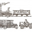 Set of vintage transport. Based on illustrations on the postal stamps — Cтоковый вектор