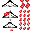 "Hangers with word ""SALE"" and sale percents — Stock Vector"
