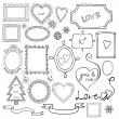 Set of doodle frames and elements for Valentine's Day. — Stock Vector #33883797