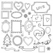 Set of doodle frames and elements for Valentine's Day. — Stock Vector