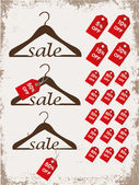 "Set of hangers with tags and word ""sale"" — Stockvektor"