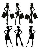 Women silhouettes, shopping. — Stock Vector