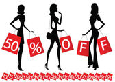 "Women shopping with inscription ""50 percent OFF"" on their bags — Stockvektor"