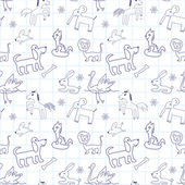 Seamless doodle pattern. Child drawing style — ストックベクタ