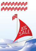 "A boat with words ""BIG SALE"" on it's sail and sale percent on it's flag. Also set of flags with different percents on the top. — Stockvektor"