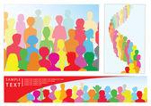 Zestaw ilustracji z tłumu, w tym transparent z miejscem na tekst — Wektor stockowy