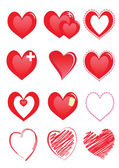 Set of red hearts — Stock Vector