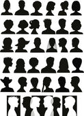 30 head silhouettes — Stock Vector