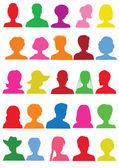 25 anonieme kleurrijke mugshots — Stockvector
