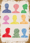 Colorful head silhouettes with scribble effect — Stock Vector