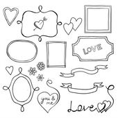 Set of doodle frames and elements for Valentine's Day — Stock Vector