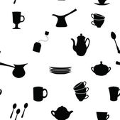 Seamless pattern with silhouettes of tea and coffee set — Stock Vector