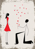 A man proposing to a woman while standing on one knee — Stock Vector
