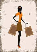 Silhouette of a woman. shopping, vintage style — Vector de stock