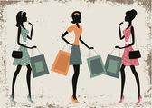 Women shopping on a retro grunge background — Vetorial Stock