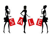 """Women shopping with word """"SALE"""" on their bags. — Vetorial Stock"""