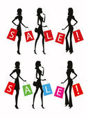 """Silhouettes of women shopping with word """"SALE"""" on their bags. — Vetorial Stock"""