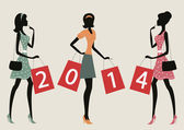 """Women shopping with the number """"2014"""" on their bags. — Stock Vector"""