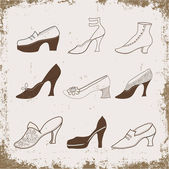 Hand drawn vintage shoes on a grunge background — Stock Vector