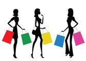 ženy dělají, nakupování — Stock vektor