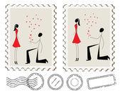 Ilustração do homem, propondo-se a uma mulher em cartão-postal — Vetor de Stock