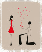 Man proposing to a woman — Stock Vector