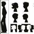 Children silhouettes and banner — Vettoriali Stock