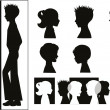 Stock Vector: Children silhouettes and banner