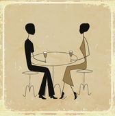 Man and woman in a restaurant, vintage card — Stock Vector