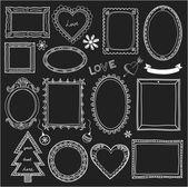 Conjunto de marcos doodle y diferentes elementos — Vector de stock