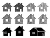 Set of houses with scribble effect — Stock Vector