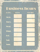 Business hours sign at retro style — Stock Vector