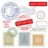 Set of Christmas and New Year stamps. — Stock Vector