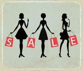 "Women shopping with word ""SALE"" — Cтоковый вектор"