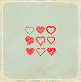 Old vintage background with  hearts — Vettoriale Stock