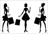 Mulheres às compras. silhuetas — Vetorial Stock