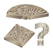 Set of 3D labyrinths — Stock Vector