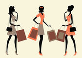 Donne lo shopping — Vettoriale Stock