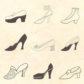 Shoe set Retro pattern — ストックベクタ